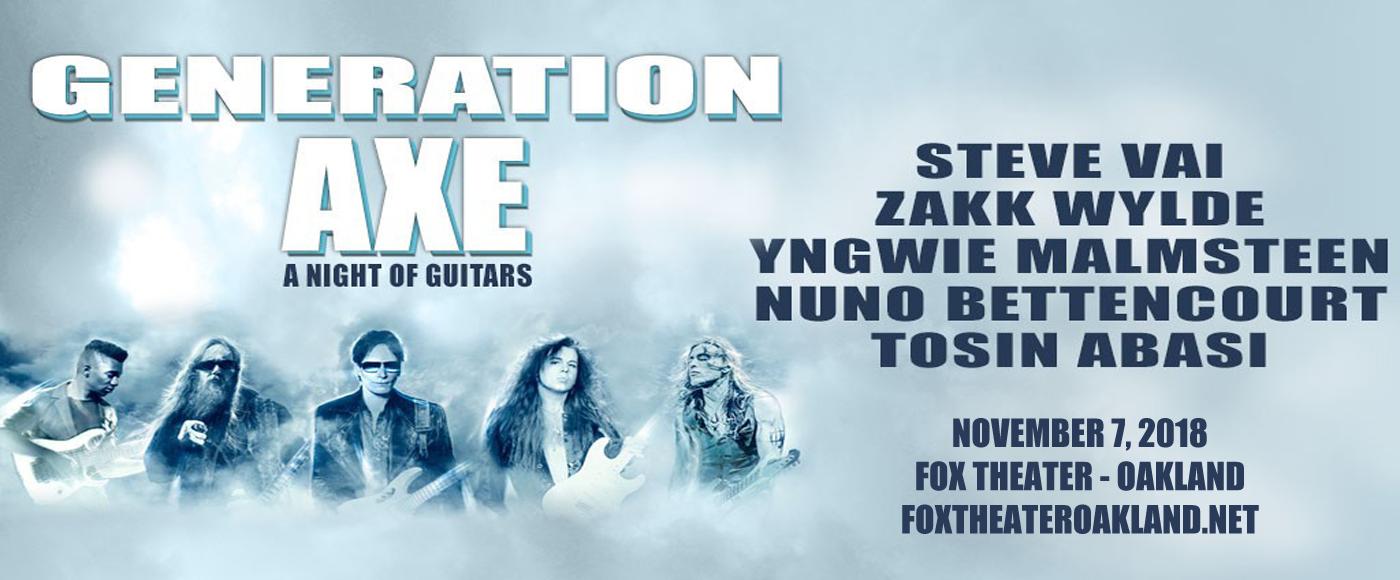 Generation Axe, Steve Vai, Zakk Wylde, Yngwie Malmsteen, Nuno Bettencourt & Tosin Abasi at Fox Theater Oakland